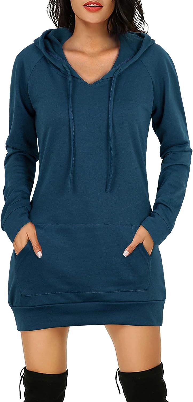 Bepei Womens Long Sleeve Tunic Hoodie Dress String Sweatshirts With Pockets