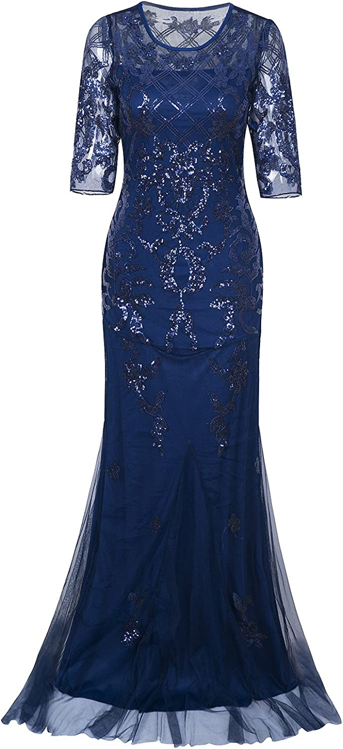 Vijiv Vintage 1920s Long Wedding Prom Dresses 2 3 Sleeve Sequin Party Evening Gown
