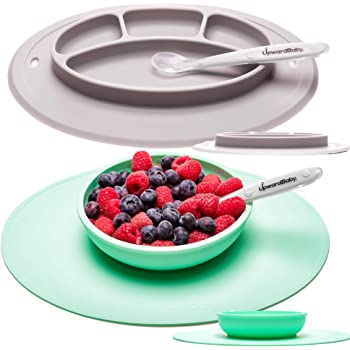 Blue Plus 2 Temperature Spoons Integrated Silicone placemat and Separate Plate with Suction Cup