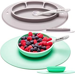 UpwardBaby Toddler Plate and Bowl Set with Suction for Kids Silicone Non Slip Baby Feeding Set Placemats with Spoons Included - BPA Free