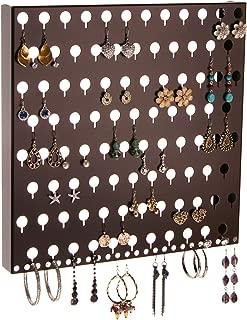 Angelynn's Stud Earring Holder Organizer Display Wall Hanging Closet Jewelry Storage Rack, Sariea Rubbed Bronze