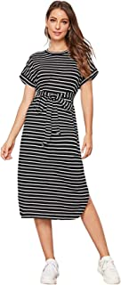 SheIn Women's Striped Split Hem Short Sleeve Tie Front Tunic T Shirt Dress