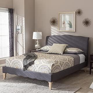 Baxton Studio Fannie French Classic Platform Bed in Dark Gray (Queen: 100.02 in. L x 62.99 in. W x 47 in. H)