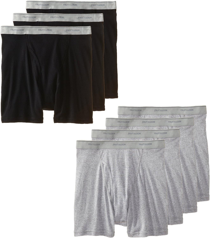 Fruit of the Loom Men's Boxer Briefs 8 Pack, Black & Grey-XX-Large
