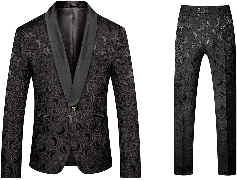 Premium Mens Paisley Jacquard Floral Slim Fit Tuxedos Gents Wedding Groom Suits White Black