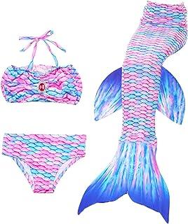 DNFUN Gar/çons Filles Queue de sir/ène pour la Natation avec Nageoire Mono Adultes Enfants 2pcs Costume Swimmable