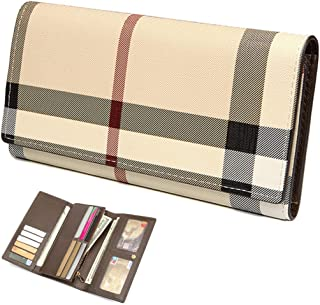 Trifold Wallets for Women Leather Clutch Checkbook Purse RFID Blocking with Credit Card Holder Organizer