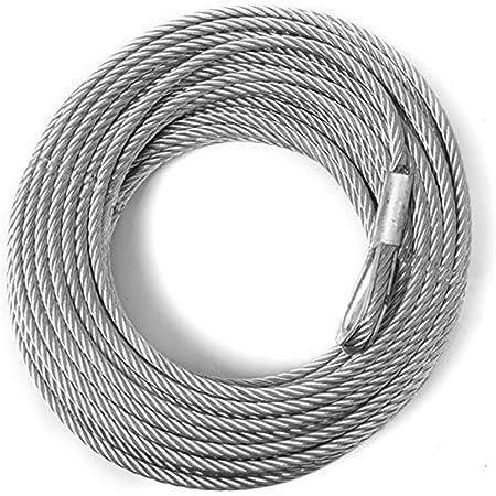 Fire Core Winch Cable With Hook 150/' 4400lbs Steel Truck Hemp Core