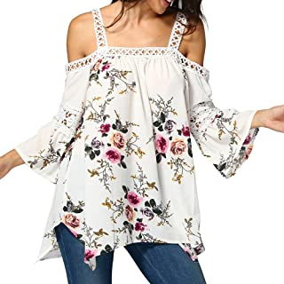 Women Girl Summer Casual Cute Crewneck Print Tops Tee Shirts Blouse Kexdaaf Blouses for Women