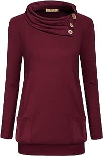 Womens Raglan Long Sleeve Cowl Neck Pullover Casual Tunic Sweatshirts with Pockets