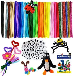 Mecando 470 Pcs Pipe Cleaners Craft Supplies 32 Colors 320 Pcs Chenille Stems 150pcs Wiggle Googly Eyes for Kids DIY Craft...