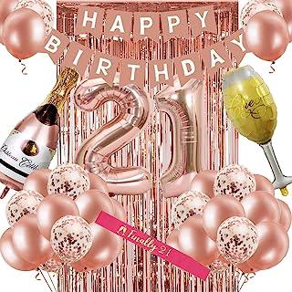 دکوراسیون تولد بیست و یکم زنانه ، گل رز رز تزیین جشن تولد 21 برای او ، بیست و یکمین جشن تولد تولدت مبارک لوازم تزیین بالن رزگلد برای خانمها لوازم مهمانی تولد 21