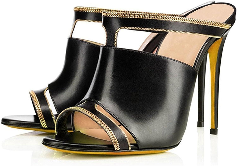 AIWEIYi Womens High Heel Stiletto Open Toe Dress Sandal Mules Slides Slippers Black