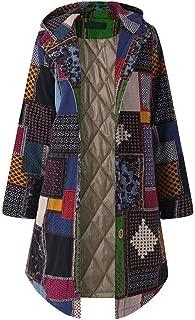 Women Bohemian Coat, Womens Plus Size Vintage Fleece Thicken Hoodie Button Long Parka