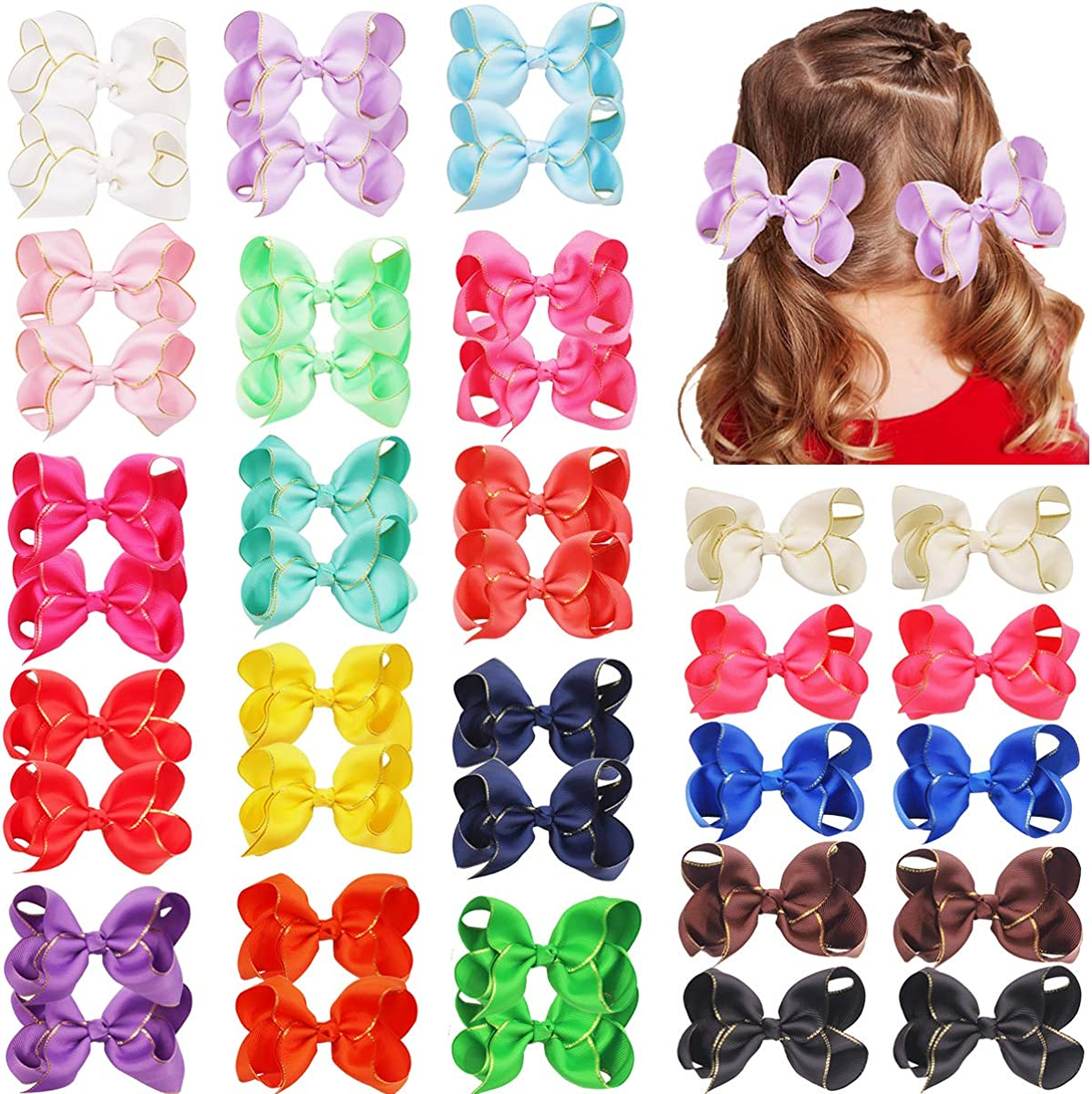 40PCS Baby Girls Max 61% OFF Fees free 4.5Inch Grosgrain Bows Hair Ribbon Alligator Ha