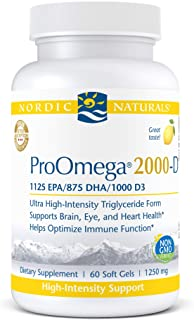 Nordic Naturals ProOmega 2000-D - Fish Oil, 1125 mg EPA, 875 mg DHA, 1000 IU Vitamin D3, Cardiovascular, Neurological, Eye...