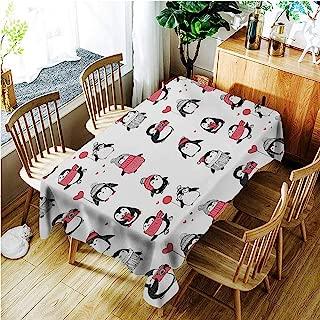 TT.HOME Small Rectangular Tablecloth,Winter Cute Penguins Hand Drawn Merry Christmas Greetings Babies Kids Toddler,Fashions Rectangular,W54x72L,Dark Coral Black White