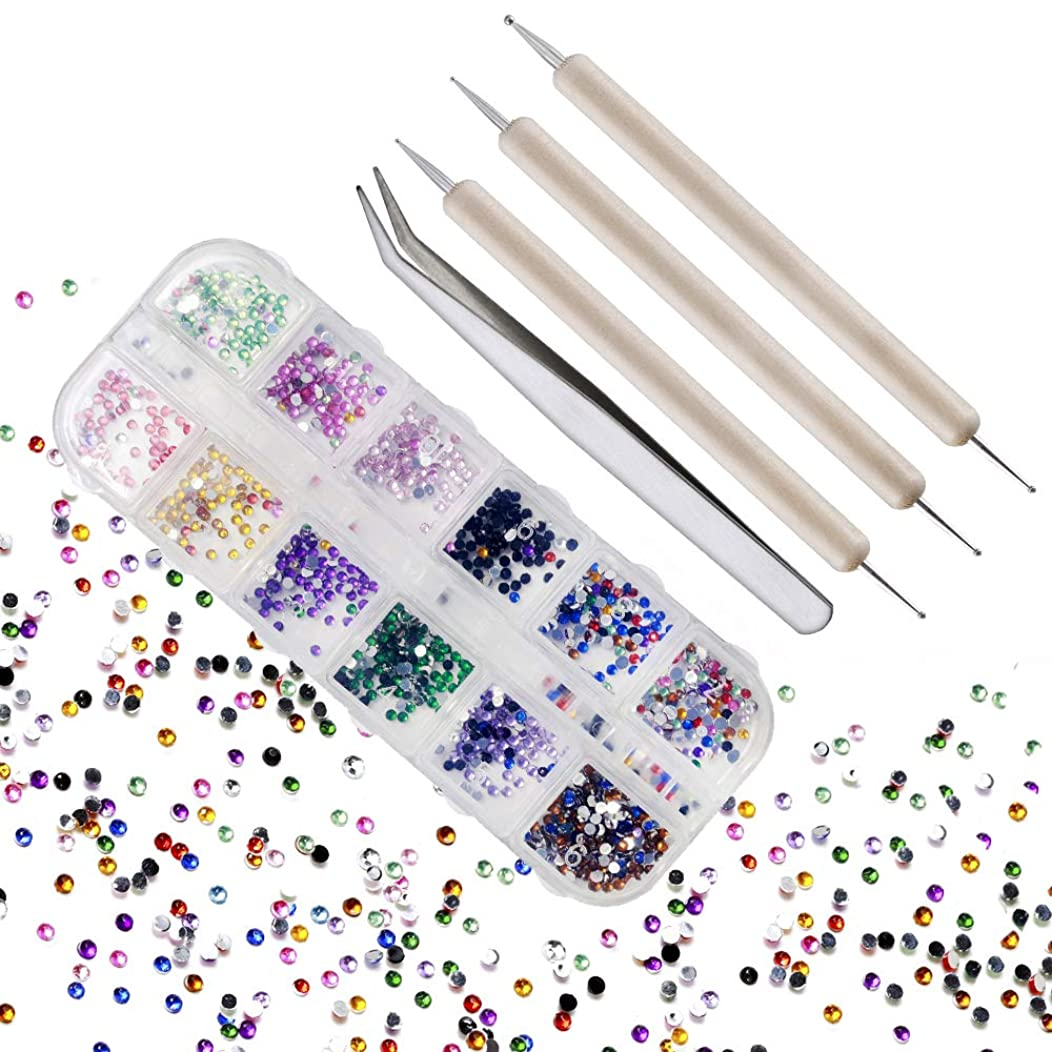 500 Pieces Rhinestones Glass Flatback Crystal 12 Colors 2mm in Storage Box with Rhinestones Picking Pen for Crafts Clothes Nail Face Art Clothes Shoes Bags