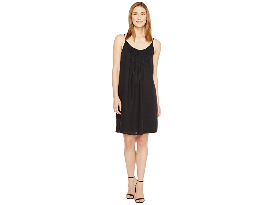 TWO by Vince Camuto Linen Pintuck Swing Dress (Rich Black) Women