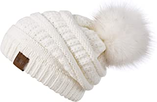 Women Winter Pompom Beanie Hat with Warm Fleece Lined, Thick Slouchy Snow Knit Chunky Baggy Skull Ski Cap