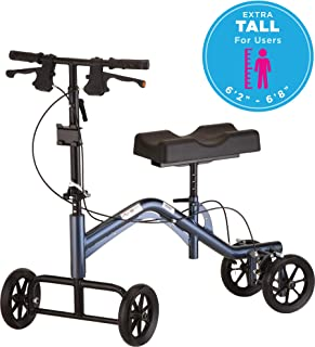 "NOVA Medical Heavy Duty & Extra Tall (up to 6'8"") Knee Walker, Steerable Knee Scooter with 400 lb Weight Capacity, Crutch Alternative, Metallic Blue Color"