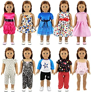 BARWA 10 Sets Doll Clothes 5 Sets Clothes Outfits and 5 Sets Dress Compatible with 18 Inch Dolls Xmas Gift