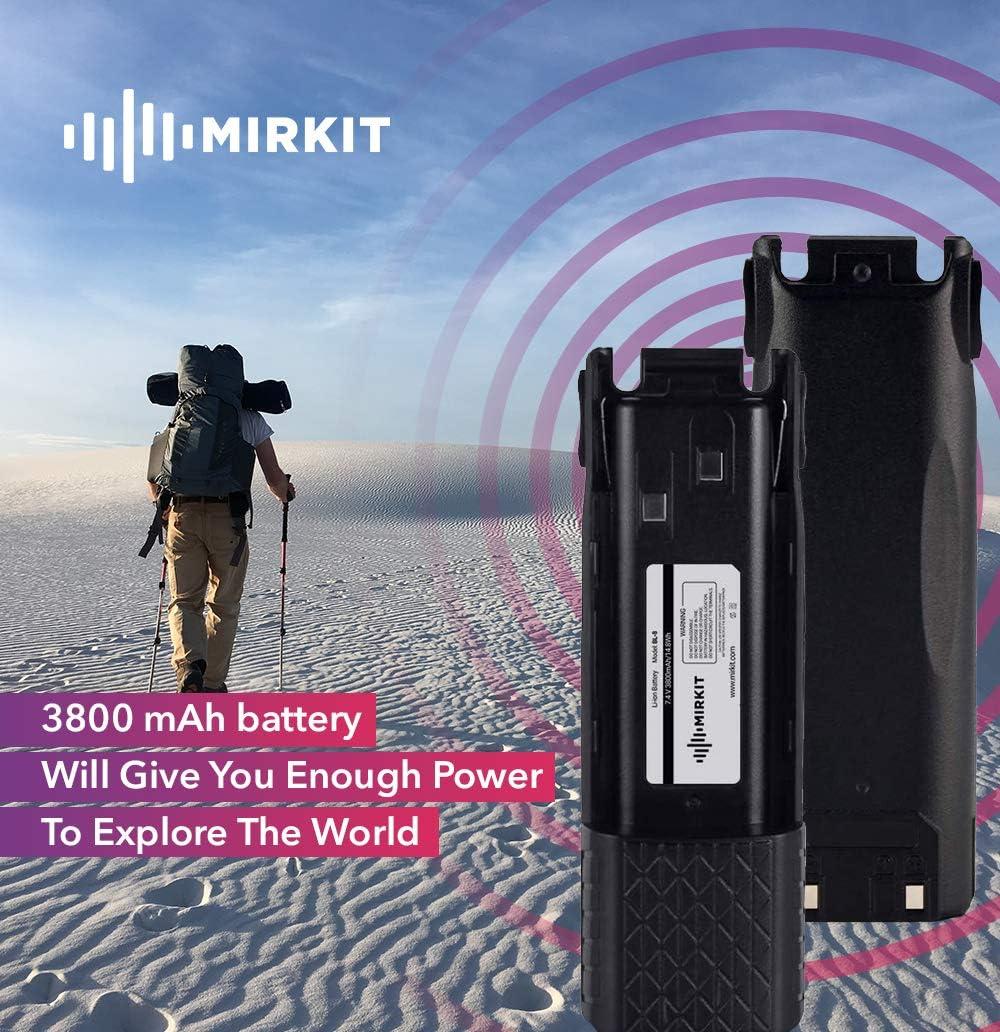 USA Warranty Mirkit 3800 mAh Baofeng UV82 Battery BL-8 7.4V Li-ion for Baofeng UV-82 MK3//5 UV 82HP UV 82 UV 82C Gmrs V1 MURS V1 Baofeng Accessories Baofeng Extended Battery by Mirkit Radio