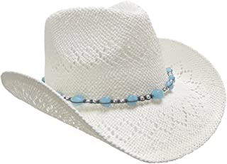 Straw Cowboy Hat for Women with Beaded Trim and Shapeable Brim