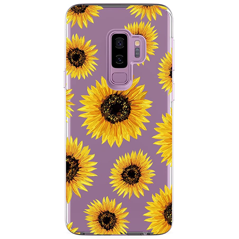 Galaxy S9 Plus (S9+) Case, JAHOLAN Girl Floral Clear TPU Soft Bumper Slim Flexible Silicone Cover Phone Case for Samsung Galaxy S9 Plus - SunFlower
