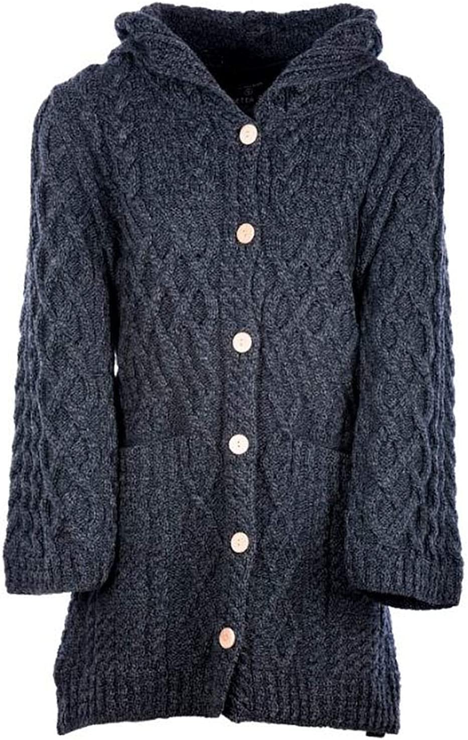 Ladies - Merino Wool - Irish Knit - Buttons Long Cardigan for Women with Hood and Front Pockets Made in Ireland