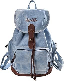 Women's Korean Fashion Canvas Backpack For College G00117 Denim Blue NEW