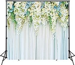 Riyidecor Bridal Floral Wall Backdrop Romantic White Rose Photography Background Marriage Dessert 8Wx8H Feet Decoration Wedding Props Party Photo Shoot Backdrop Vinyl Cloth