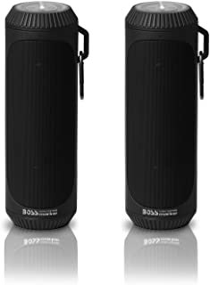 BOSS Audio Systems BOLTBLK Portable Bluetooth Speakers - Black, 1.5 Inch Speakers, 12 Hours of Play Time, Built-in Emergency Flashlight, Sold in Pairs for Stereo Sound