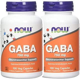 Now Foods 社 ナウフーズ ギャバ GABA 750mg(ベジタリアンカプセル)2本セット [並行輸入品]