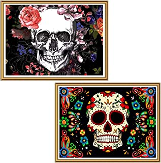 Ginfonr 5D Diamond Painting Halloween Colorful Skull Full Drill by Number Kits for Adults, 2 Pack Flower Skeleton Paint with Diamonds Art Crystal DIY Rhinestone Decor Wall Craft 30x40 cm (12