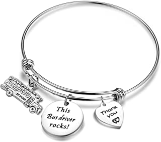 Bus Driver Appreciation Gift Awesome Bus Driver Bracelet Wire Bangle Back To School Jewelry (Awesome Bus Driver)