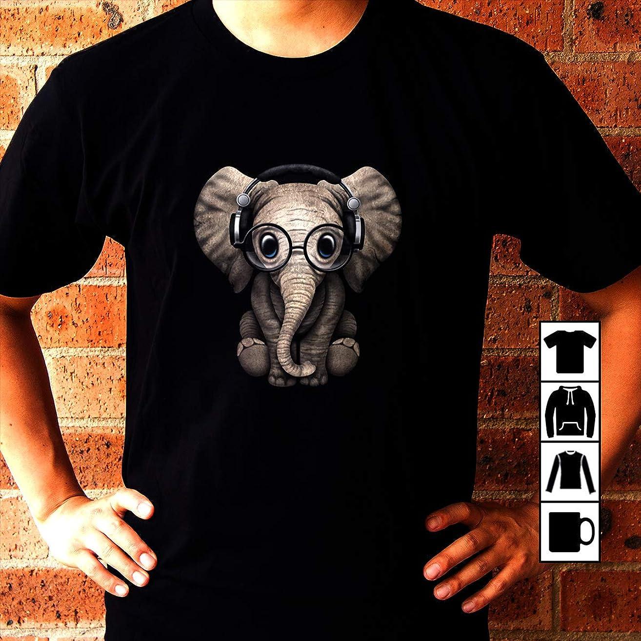 Elephant Cute Baby Elephant Dj Wearing Headphones and Glass T Shirt Long Sleeve Sweatshirt Hoodie Youth