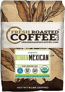 Fresh Roasted Coffee LLC, Organic Half Caf Mexican Chiapas Coffee, Medium Roast, Swiss Water Decaffeinated, USDA Organic, Whole Bean, 5 Pound Bag