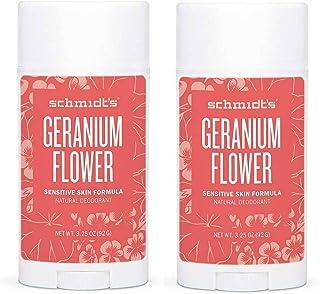 Schmidt's Geranium Flower Sensitive Skin Deodorant Stick Odor Protection and Wetness Relief Aluminum-Free 3.25 oz/each (2 ...