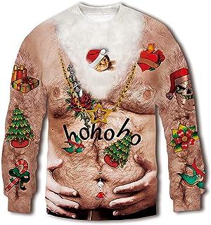257b091853376 RAISEVERN Unisex Ugly Christmas Sweatshirt 3D Funny Design Printed Casual  Novelty Xmas Pullover Sweater Shirt