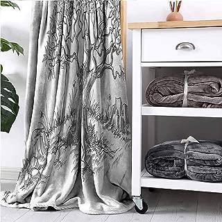 GAJIOE DIY Printing Blanket Nature Bed Sleeping Travel Pets Reading Olive Tree Foliage Sketch W32 xL32