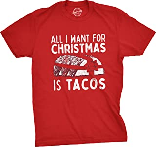Mens All I Want For Christmas Is Tacos Tshirt Funny Mexican Food Holiday Tee