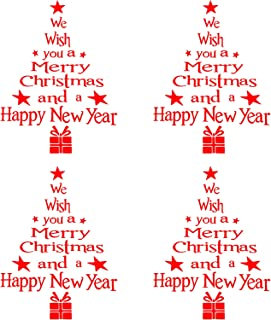 Blulu 4 Pieces Christmas Tree Letter Stickers Removable Wall Door Stickers Letters Window Stickers for Christmas Home Deco...