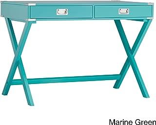 Casual Kenton X Base Legs Wood Accent Campaign Rectangular Writing Desk (Marine Green)