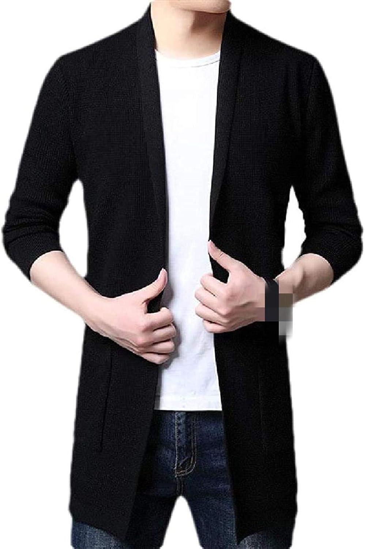 Men Stylish Open Front Knitwear Shawl Collar Slim Sweater Cardigan