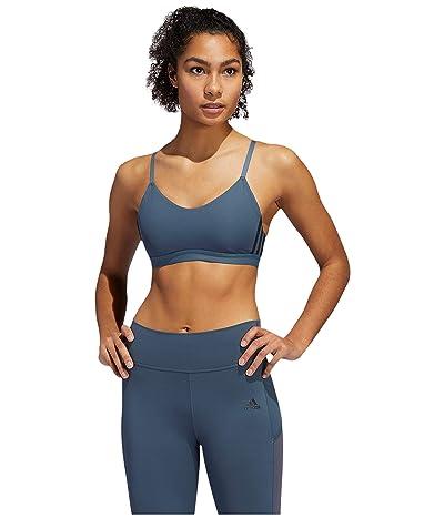 adidas All Me Stripe Bra (Legacy Blue/Black) Women