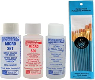 Microscale Micro Set, Micro Sol, and Liquid Decal Film, One 1 Ounce Bottle of Each with Spice of Life Paintbrush Set