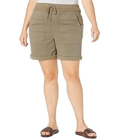 NYDJ Plus Size Plus Size Drawstring Stretch twill Cargo Shorts in Moss