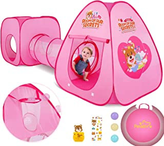 Peradix Lektält för barn med lekhustunnel och tältpåse 3 i 1 pop up lekttält, prinsessatält för pojkar, flickor, hemma och...