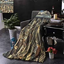 ZSUO Bed Blanket Melbourne Cityscape Modern Australia Architecture Buildings Metropolis Dramatic Sky Reversible Soft Fabric for Couch Sofa Easy Care 60